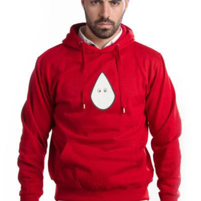 Sudadera capucha roja capirote blanco
